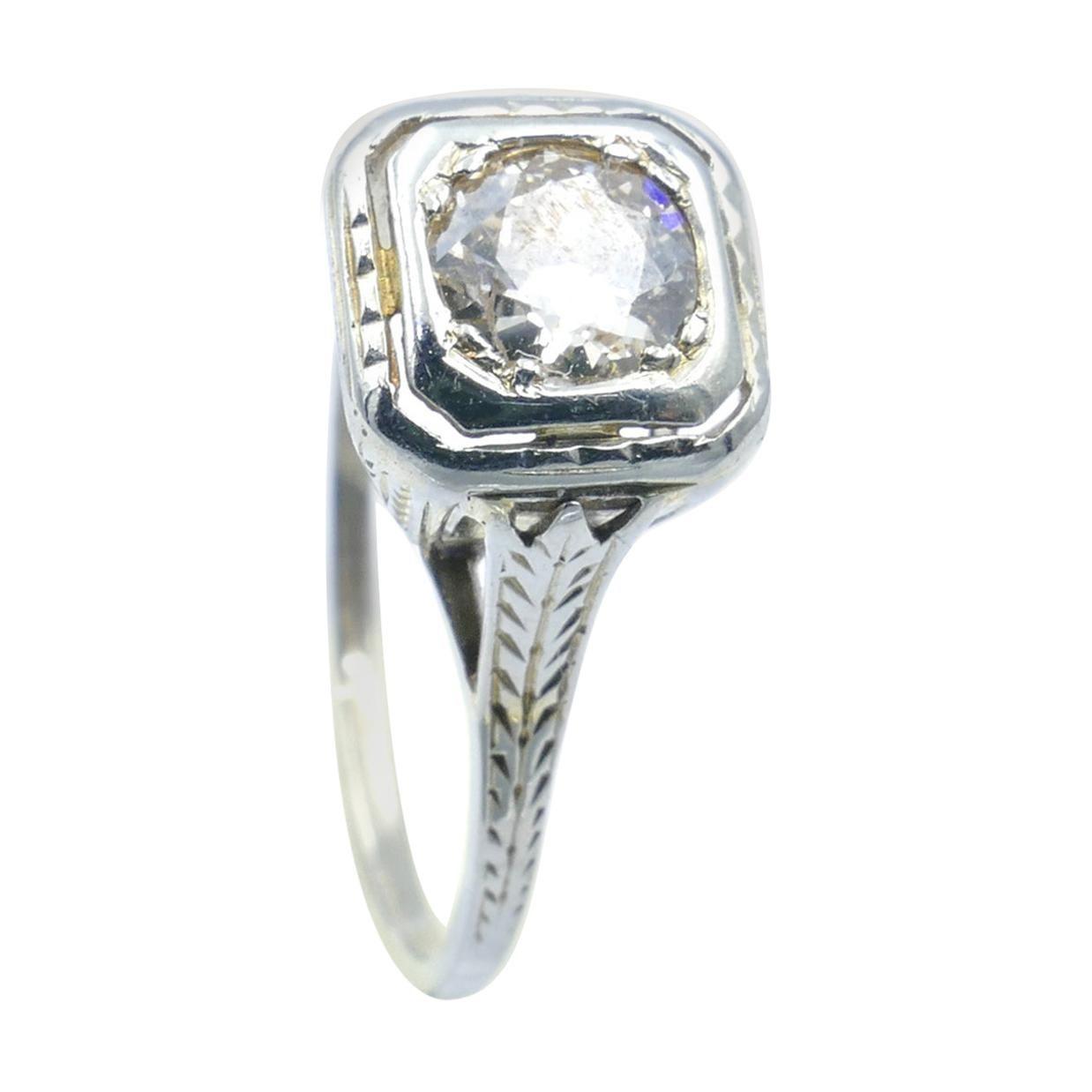 Art Deco 18ct White Gold Solitaire Old European Cut Diamond Ring, Circa 1925