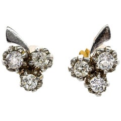 18 Karat Gold and Platinum Diamonds Earrings