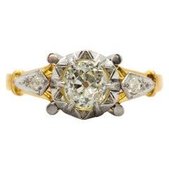 Art Deco 18 Karat Gold and Platinum Diamonds Engagement Ring