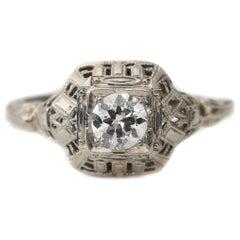 Art Deco 18K Gold Engagement Ring .36 Carat Old European Cut Diamond Filigree
