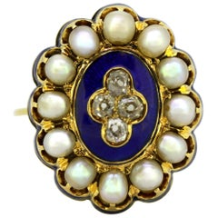 Art Deco 18K Gold Ladies Dome Ring with Diamonds, Enamel, and Freshwater Pearls