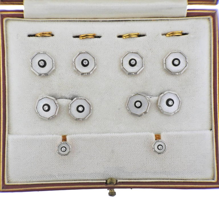 Art Deco 18 Karat Gold Platinum Diamond Onyx Crystal Cufflink Button Stud Set In Excellent Condition For Sale In Lahaska, PA