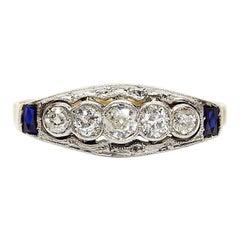 Art Deco 18 Karat Gold and Platinum Diamonds and Sapphires Ring