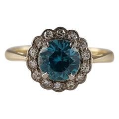 Art Deco 18K & Platinum 1.18ct Zircon & 0.21ct Diamond Daisy Cluster Ring C1930s