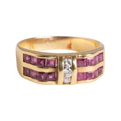 Art Deco 18k Ruby and Diamond Band Ring