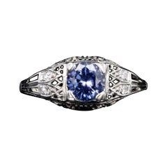 Art Deco 18K White Gold 1.10 Carat Natural Sapphire and Diamond Ring