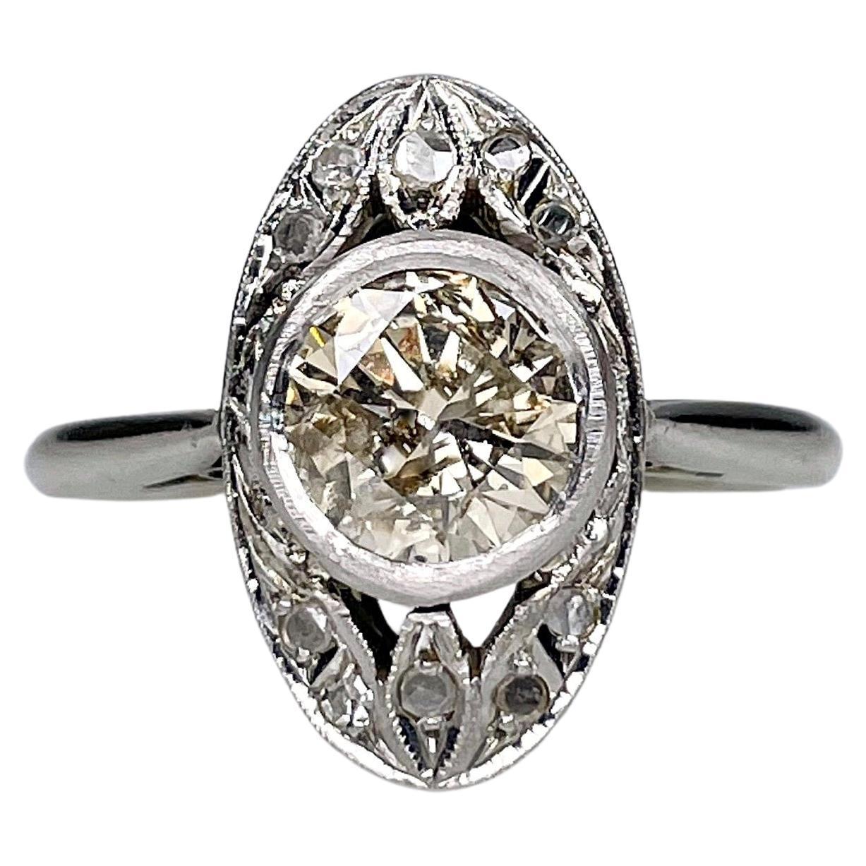 Art Deco 18K White Gold 1ct Diamond Oval Ring