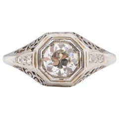 Art Deco 18K White Gold .71Ct Solitaire Diamond Carved Vintage Engagement Ring