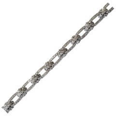 Art Deco 18 Karat White Gold Diamond Bracelet .90pts. Carat