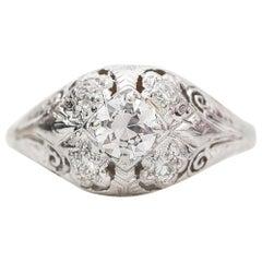 Art Deco 18k White Gold Diamond Ring Aprox .60 cttw Old European Cu, circa 1920s