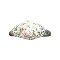 Art Deco 18k White Gold Genuine Natural Diamond Filigree Ring .56ct '#J2360'