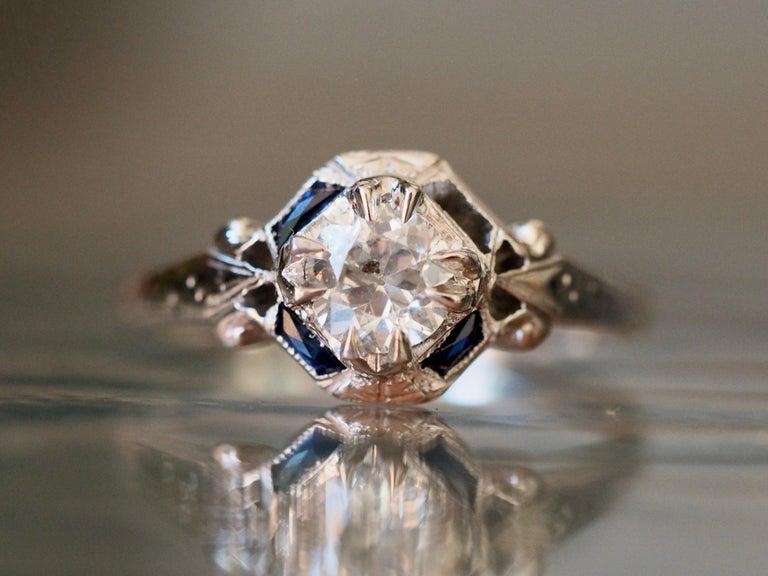 Art Deco 18 Karat White Gold Old European Cut Diamond Ring In Good Condition In Addison, TX