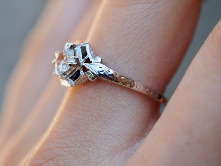 Art Deco 18 Karat White Gold Old European Cut Diamond Ring 1
