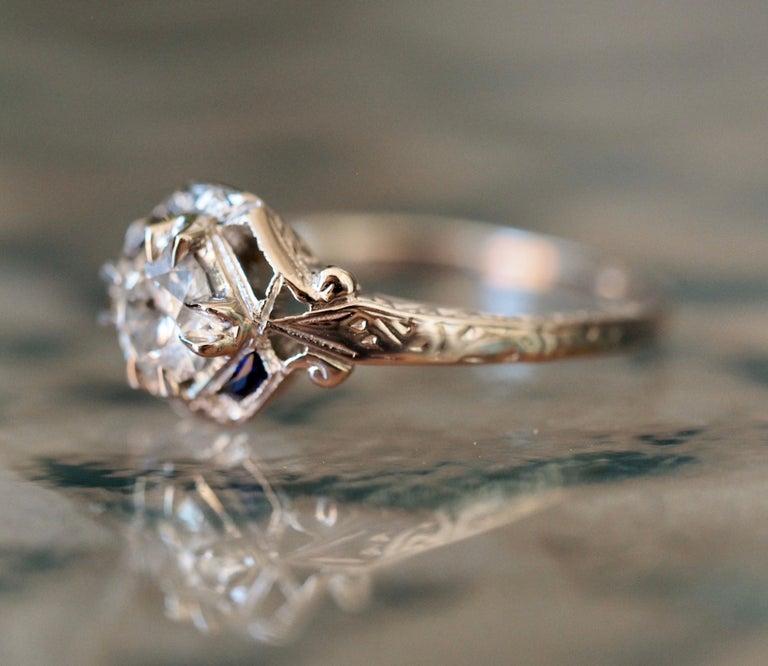 Art Deco 18 Karat White Gold Old European Cut Diamond Ring 3