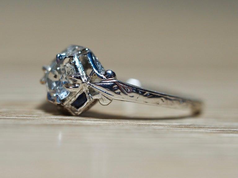 Art Deco 18 Karat White Gold Old European Cut Diamond Ring 4