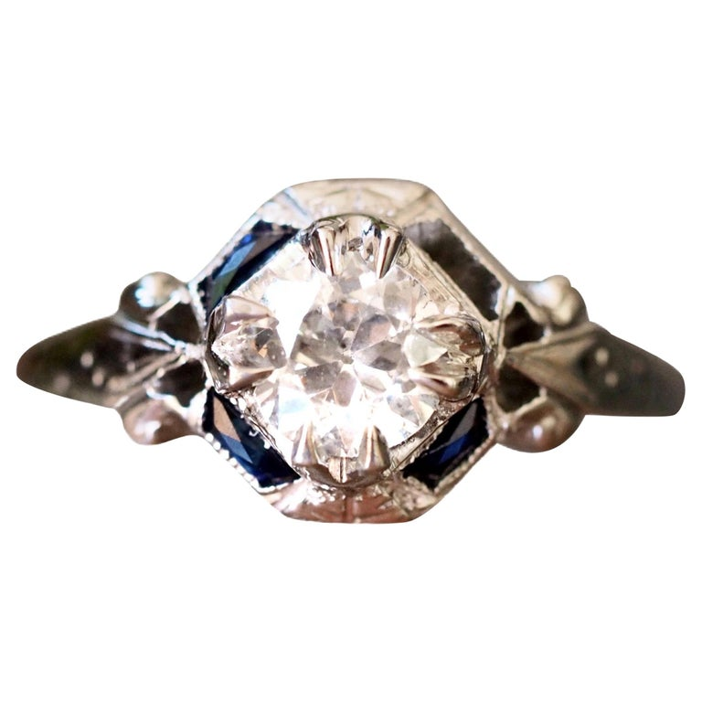 Art Deco 18 Karat White Gold Old European Cut Diamond Ring