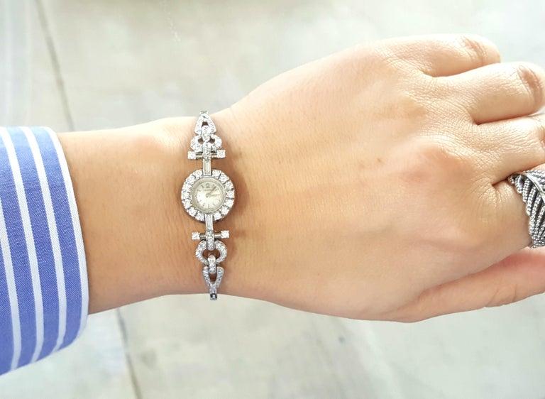 Round Cut Art Deco Style 18 Karat White Gold Omega Diamond Ladies Swiss Wristwatch For Sale