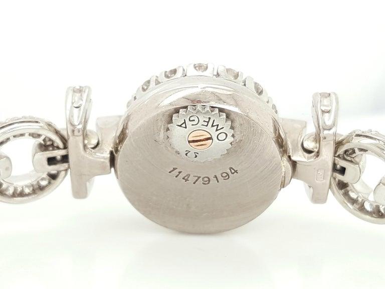 Art Deco Style 18 Karat White Gold Omega Diamond Ladies Swiss Wristwatch For Sale 1