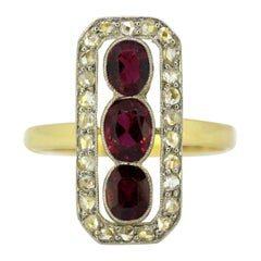 Art Deco 18 Karat Gold Ladies Ring with Rubies and Diamonds