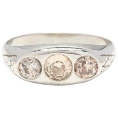 Art Deco 18KT White Gold and Cognac Old European Cut Diamond Three-Stone Ring