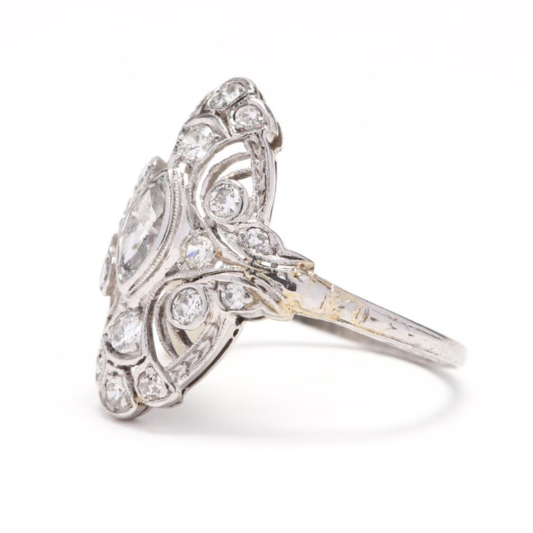 Art Deco 18 Karat White Gold Diamond Navette Ring In Good Condition For Sale In McLeansville, NC