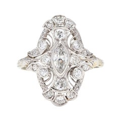 Art Deco 18 Karat White Gold Diamond Navette Ring