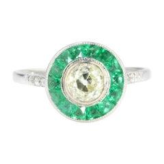 Art Deco 18kt White Gold Ladies Yellow Diamond and Emerald Ring, 1920's