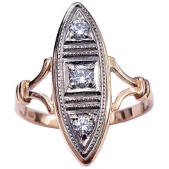 Art Deco 18th Century Russian Gold 0.33 Carat Diamond Ring