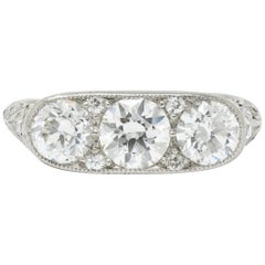 Art Deco 1.90 Carat Diamond Platinum Three-Stone Dinner Ring