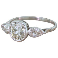 Art Deco 1.90 Carat Old Cushion and Old Pear Cut Diamond Trilogy Ring