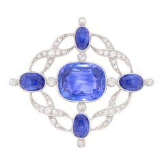 Art Deco 19.00 Carat Sapphire & Diamond Brooch, c.1920s