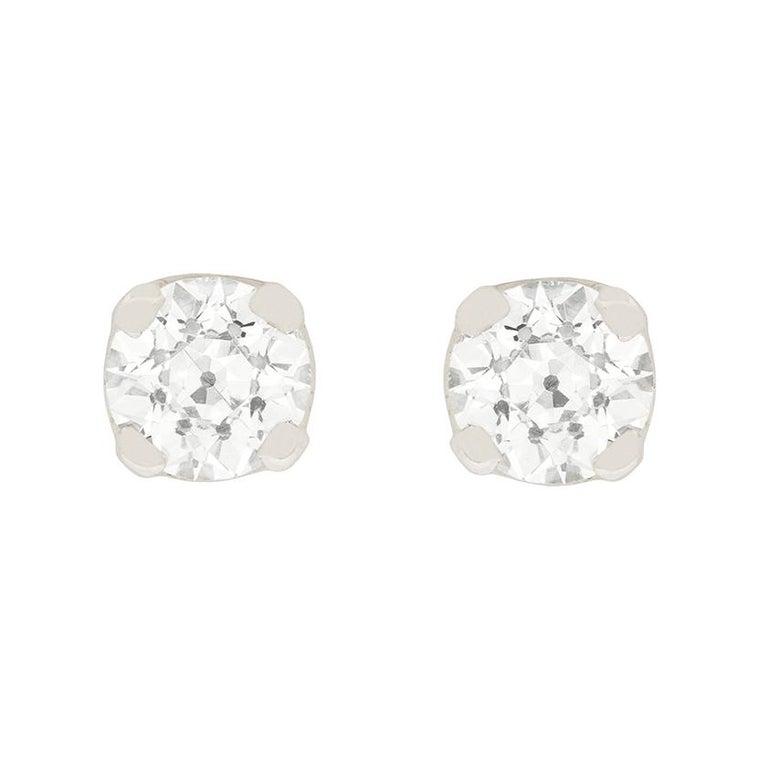 Old European Cut Art Deco 1.90 Carat Diamond Stud Earrings, circa 1920s For Sale
