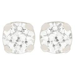 Art Deco 1.90 Carat Diamond Stud Earrings, circa 1920s
