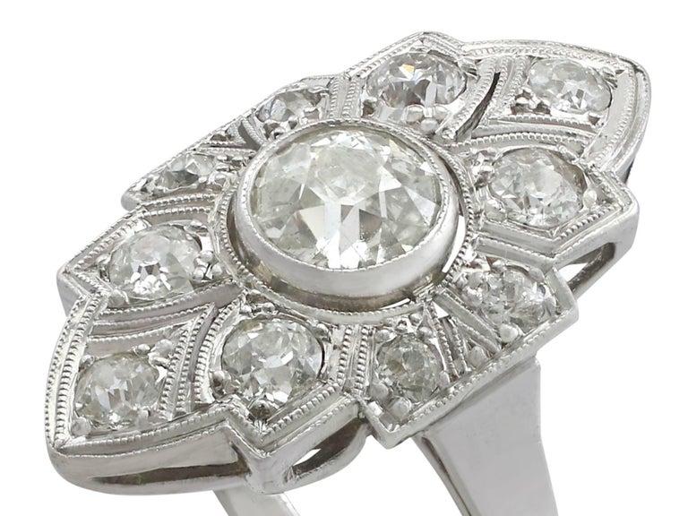 Old European Cut Art Deco 1.91 Carat Diamond and White Gold, Platinum Set Marquise Ring