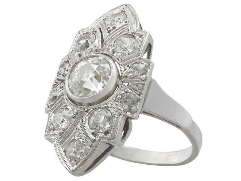 Art Deco 1.91 Carat Diamond and White Gold, Platinum Set Marquise Ring In Excellent Condition In Jesmond, Newcastle Upon Tyne