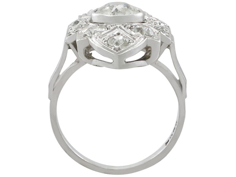 Women's Art Deco 1.91 Carat Diamond and White Gold, Platinum Set Marquise Ring
