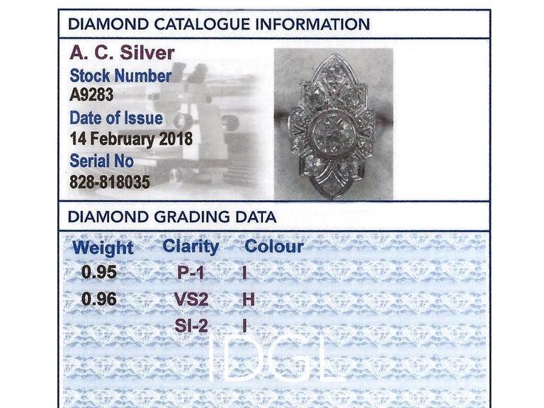 Art Deco 1.91 Carat Diamond and White Gold, Platinum Set Marquise Ring 1