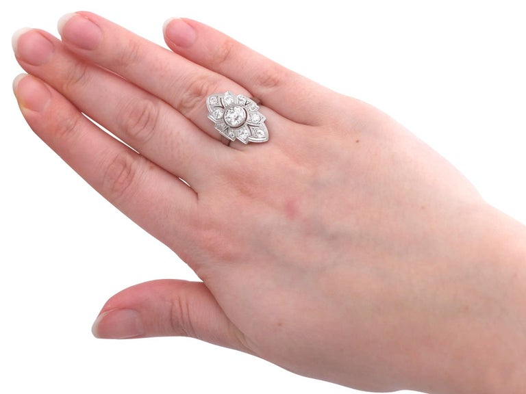 Art Deco 1.91 Carat Diamond and White Gold, Platinum Set Marquise Ring 2