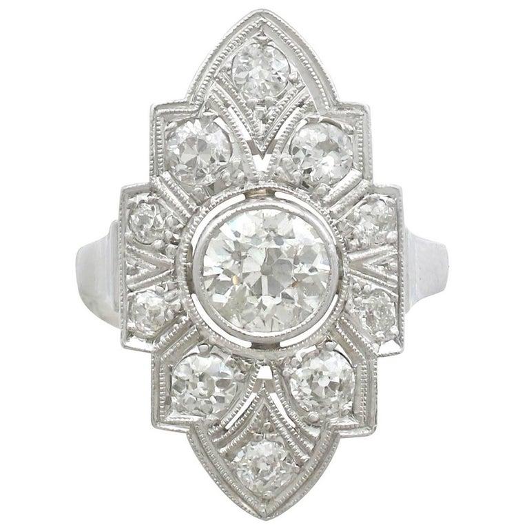 Art Deco 1.91 Carat Diamond and White Gold, Platinum Set Marquise Ring