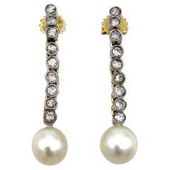 Art Deco 1915 Diamond Platinum Gold Cultured Pearls Drop Dangle Earrings