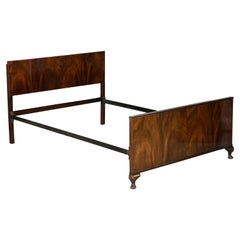 Art Deco 1920 Flamed Mahogany Bed Frame Bedstead Headboard Carved Cabriolet Legs