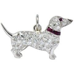 Art Deco 1920s 0.25 Carat Diamond Ruby Platinum Dachshund Dog Charm
