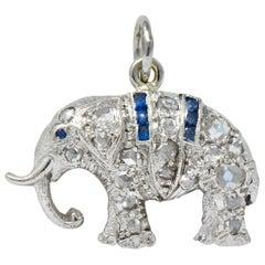Art Deco 1920s 0.30 Carat Diamond Platinum Lucky Elephant Charm