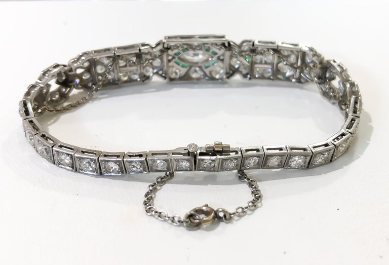 Art Deco 1920s 5 Carat Diamond and Emerald Platinum Bracelet In Good Condition For Sale In Carmel-by-the-Sea, CA