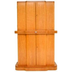 Art Deco 1920s Burr Maple and Walnut Cocktail Cabinet