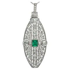 Art Deco 1920s Certified 7.37 Carat Diamond & Emerald Platinum Pendant Necklace