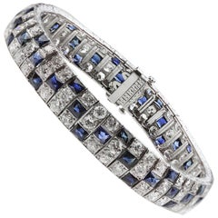 Art Deco 1920s Diamond and Sapphire Three Rows Bracelet