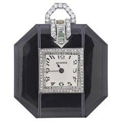 Art Deco 1920s Diamond Onyx Platinum Watch Pendant