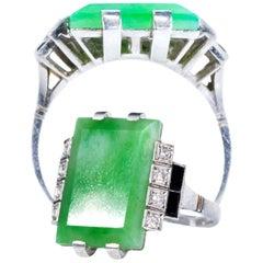 Art Deco 1920s French Hallmarked Platinum Onyx Diamond Set Carat Large Jade Ring