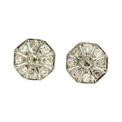 Art Deco 1920s Hexagonal Diamond Platinum Stud Earrings